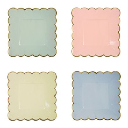 Square Pastel & Gold Paper Plates - Small, pack of 8